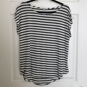 Green Envelope Stitch Fix Black White Stripes Top
